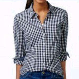 Anthropologie Lili's Closet Blue Gingham Top
